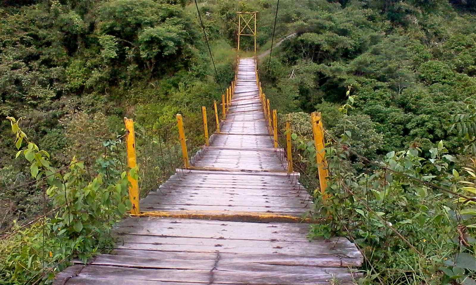 Vista del puente colgante en Pahuatlán
