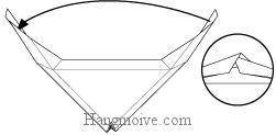 Bước 6: Luồn hai cạnh giấy vào nhau.
