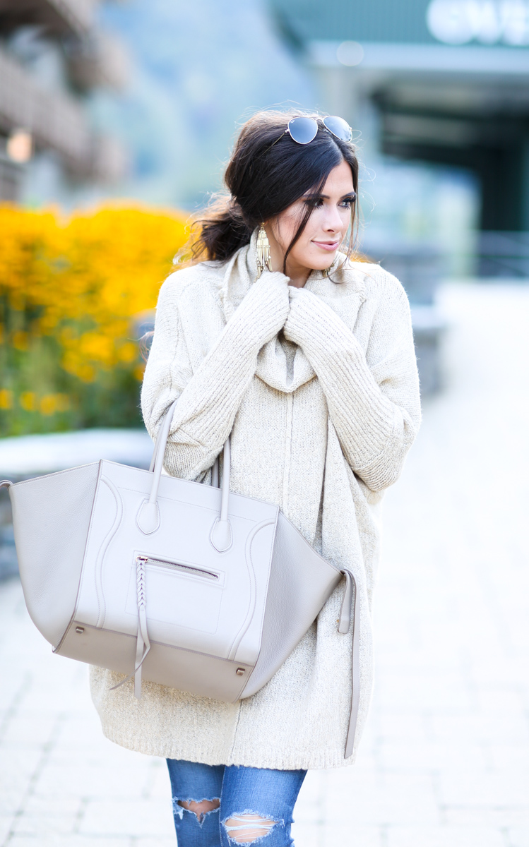 fall outfit idea, fall ootd pinterest, pinterest casual fall outfits, stowe mountain lodge vermont, oversized sweater with booties, how to wear oversized sweaters, emily gemma, the sweetest thing,curly low pony tail with volume, jeffrey campbell booties, AG ankle skinny jean