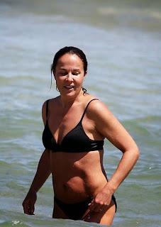 Simon Baker Rebecca Rigg Black Bikini Sydney Australia