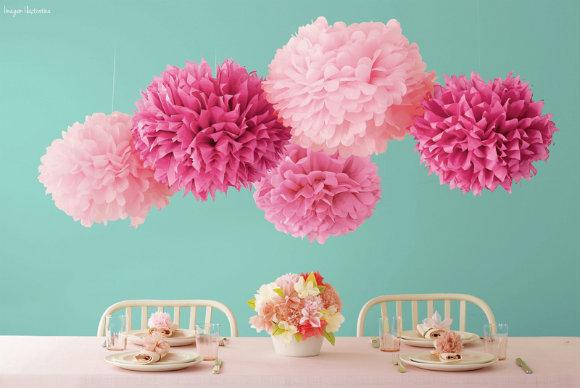 Caf com bolo de fub pompom de flor com papel fa a - Como hacer pompones para decorar fiestas ...