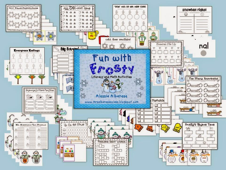 http://www.teacherspayteachers.com/Product/Fun-With-Frosty-Literacy-and-Math-Activities-451548