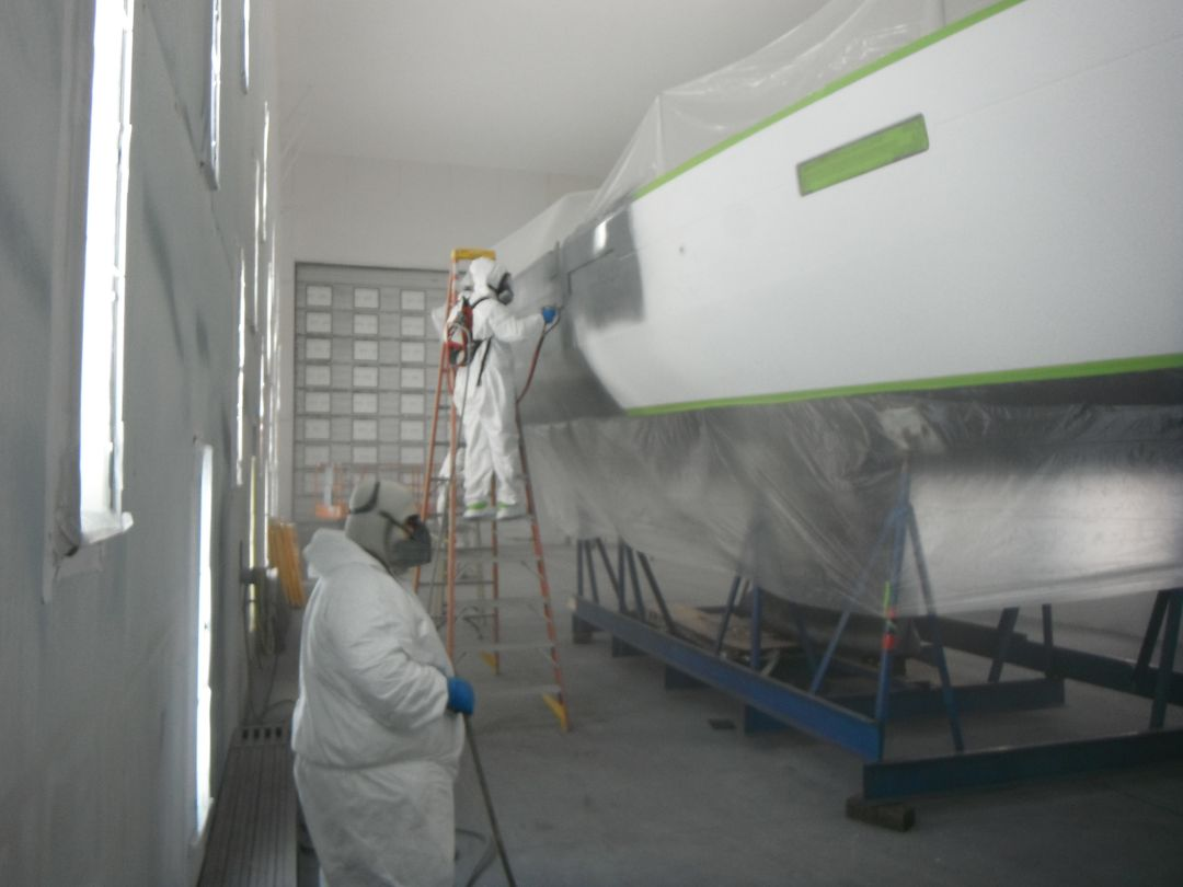 Beneteau Oceanis 45 with AwlGrip 545 primer going on the hull