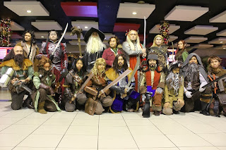 Middle Earth company of dwarves, elves, hobbit, and human.