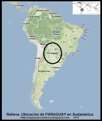 Mapa de Relieve. Ubicación de PARAGUAY en Sudamérica