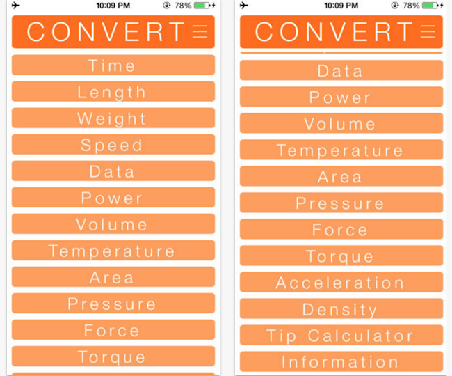Convert App for iPhone