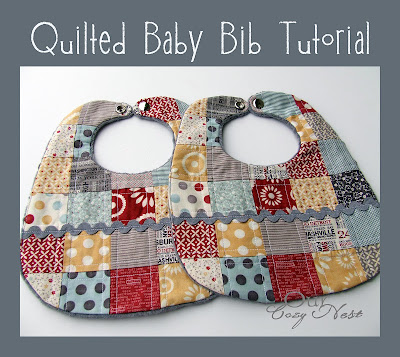 Free sewing tutorial and pattern baby bib with owl appliqué