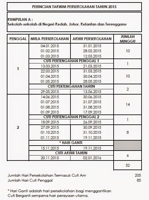 Takwim Sekolah 2015 Kumpulan A
