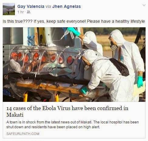 Ebola in Cavite, Iloilo, Makati, Philippines hoax