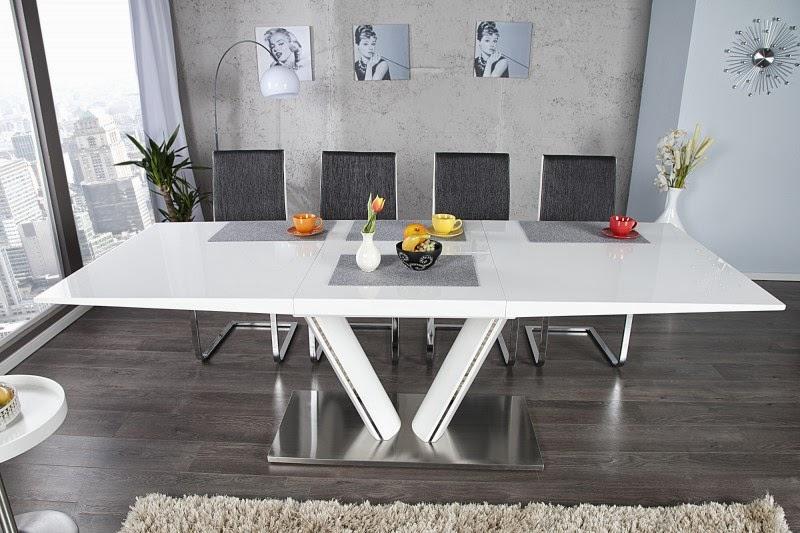 jedalensky roztahovaci stôl, stôl v lesklej bielej farbe