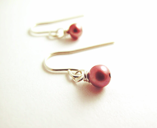 Pink Light Sterling Silver Pink Pearl Breast Cancer Awareness Earrings by Beth Hemmila of Hint Jewelry