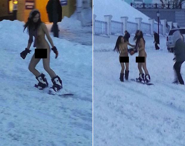 Frio E Andaram Nuas De Snowboarding Na Ucr Nia Foto Reprodu O