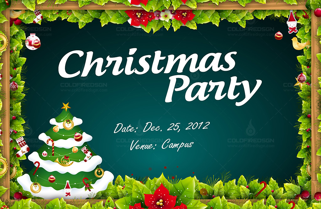 Christmast Party Background Tarpaulin PSD