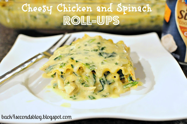 Cheesy Chicken and Spinach Roll Ups #easy #dinner #pasta