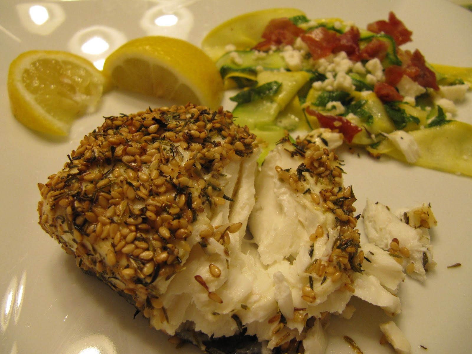 Sesame-Crusted Halibut and Summer Squash Salad with Prosciutto Crisps ...