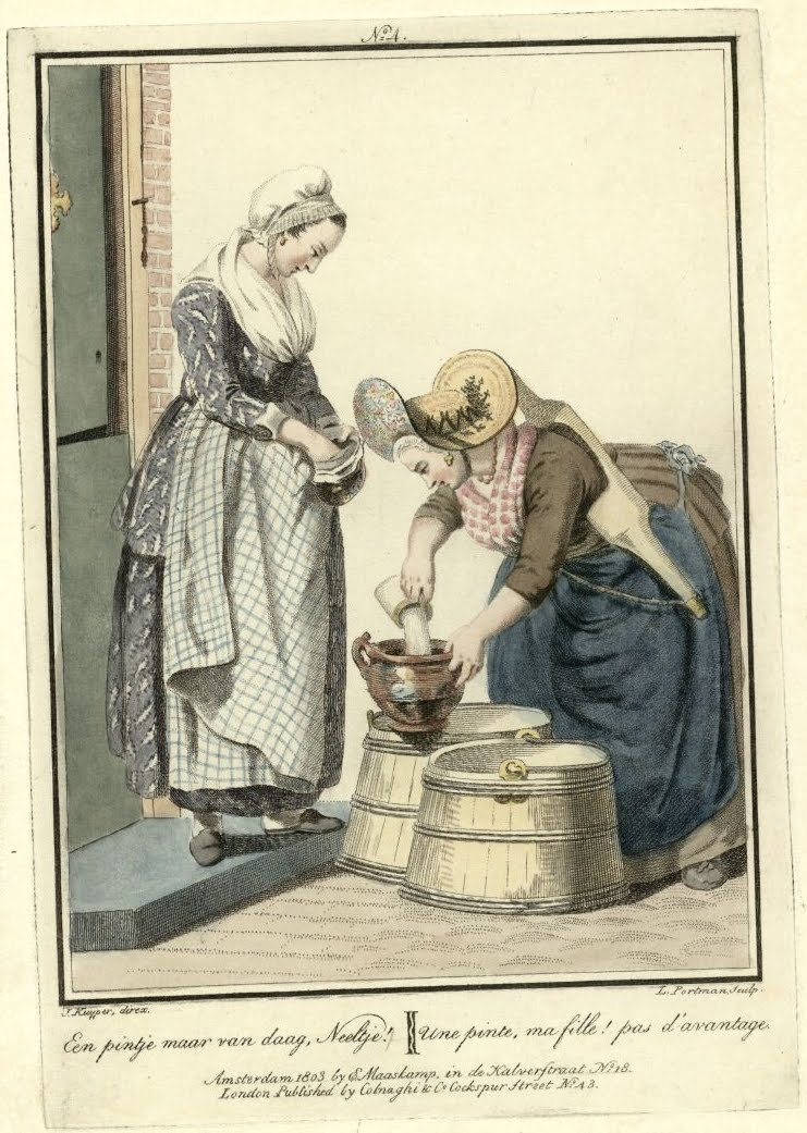 1803 milk maid and customer engraved illustration