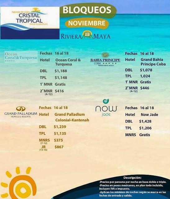 Hoteles en Riviera Maya 3 días 2 noches todo incuido en Noviembre por Cristal Tropical Agencia de Viajes