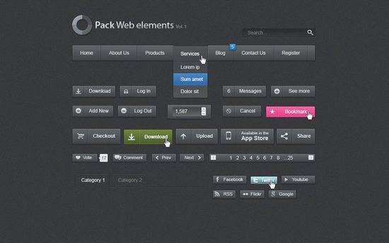 Minimalist Dark Psd Web UI Set