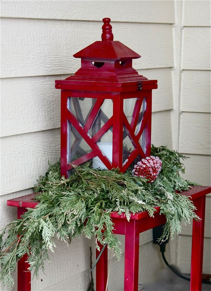 outside decorations,  red lantern, red table, natural Christmas, porch