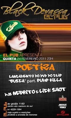 """Quinta 24.02 Poetiza Lança DVD do video clipe """"Busca"""" no El PUB em São Caetano"""
