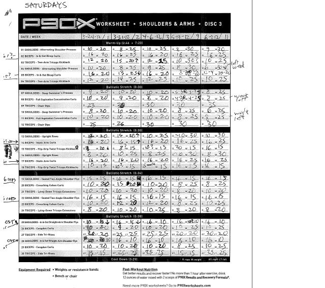 My P90X Diary P90Xalmost a year later – P90x Chest and Back Worksheet