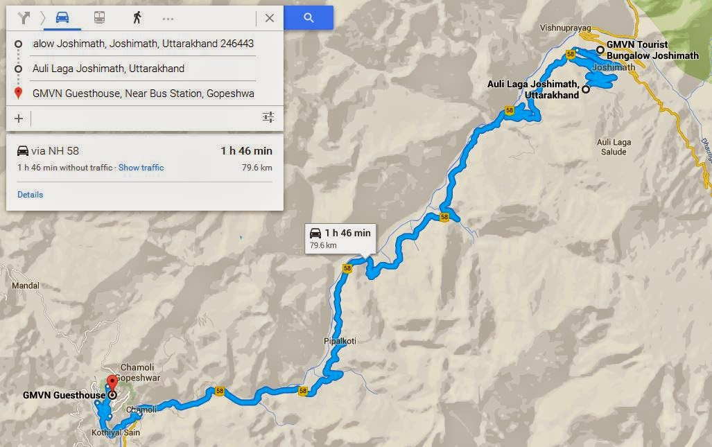 route map of joshimath to auli