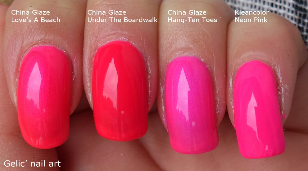 Gelic\' nail art: Comparison neon pink polishes