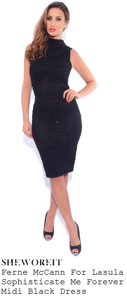 ferne-mccann-black-textured-sleeveless-high-neck-bodycon-midi-dress-spa-launch