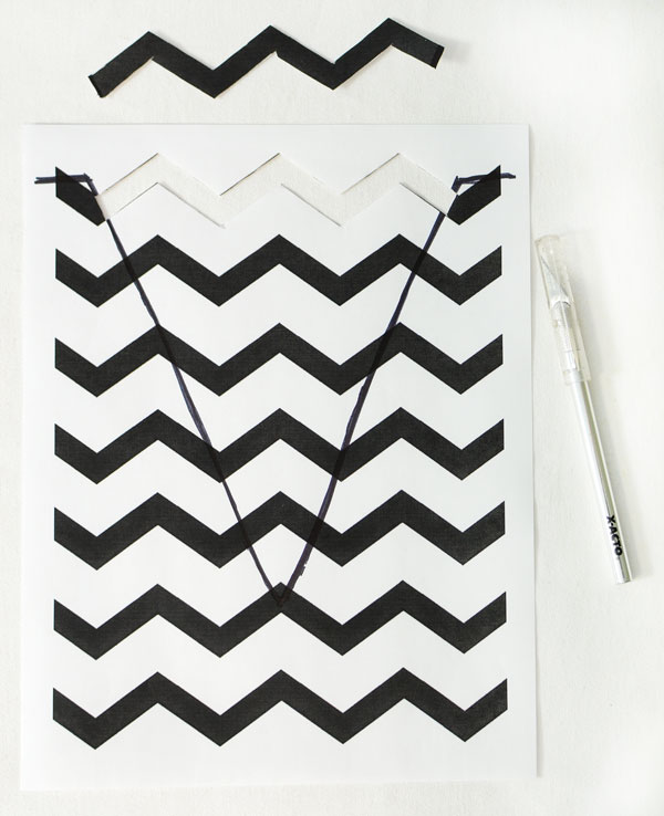 Step Three- Free Printable Chevron Stencil Tutorial by MardiGrasOutlet.com