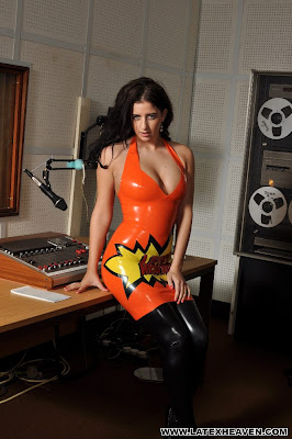 Coral May Hall Sexy in Orange Latex Heaven Dress