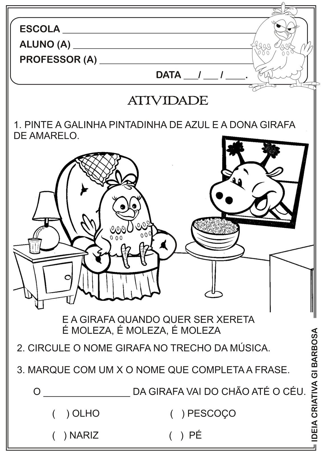 Top Atividade Galinha Pintadinha Projeto Música na Escola | Ideia  UE31