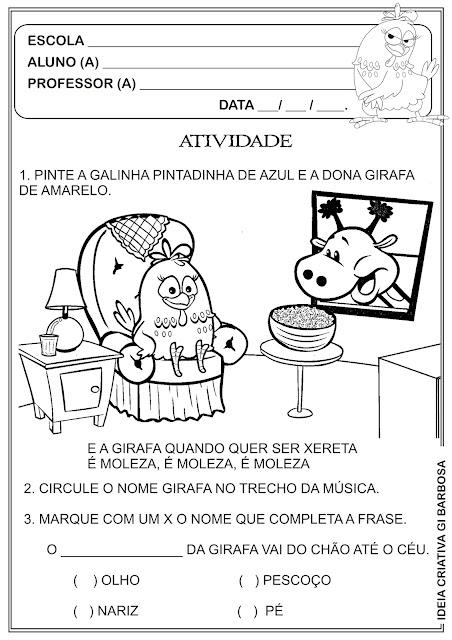 Atividade Galinha Pintadinha Projeto Música na Escola