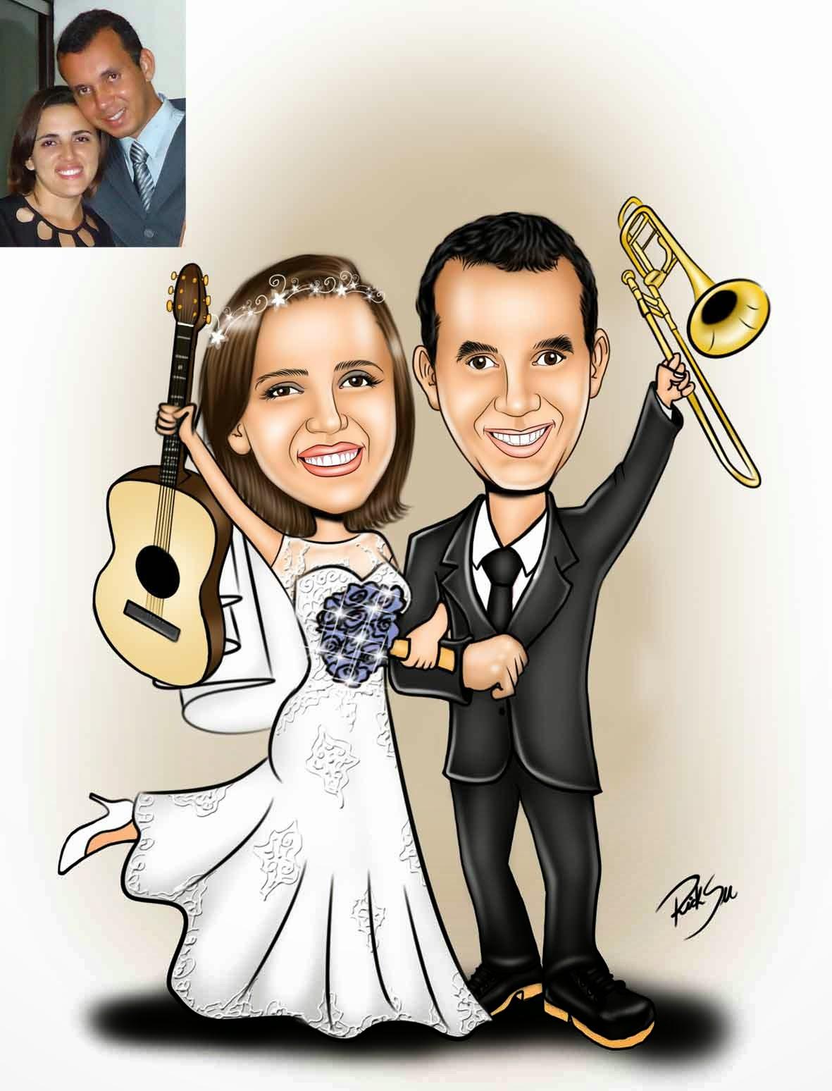 noiva com violão e noivo com trompete