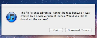 OSX Lion iTunes Library.itl Fix: Your first encounter with the message The file
