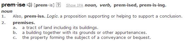 Premisses definition