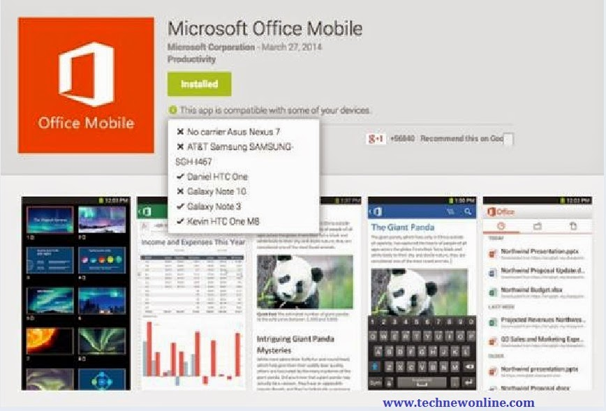 Quick Install Microsoft Office Mobile For Android Tablets 1