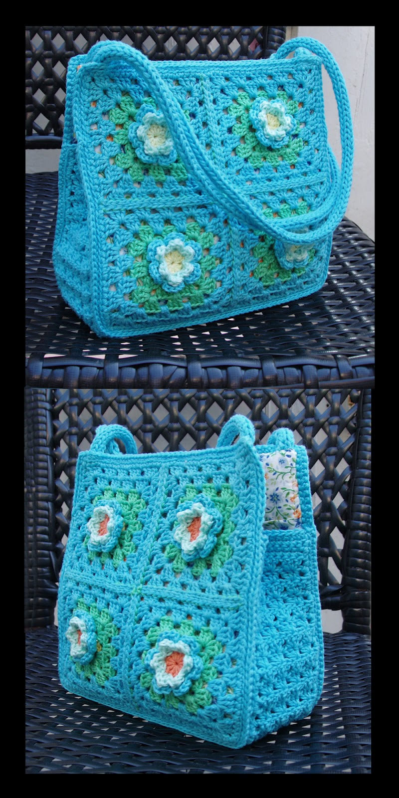 Crochet Granny Square Purse : Sophie and Me: THE GRANNY SQUARE BAG WITH FLOWERS