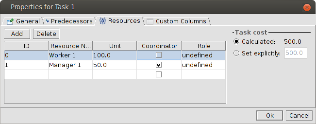 Resources tab of task properties dialog