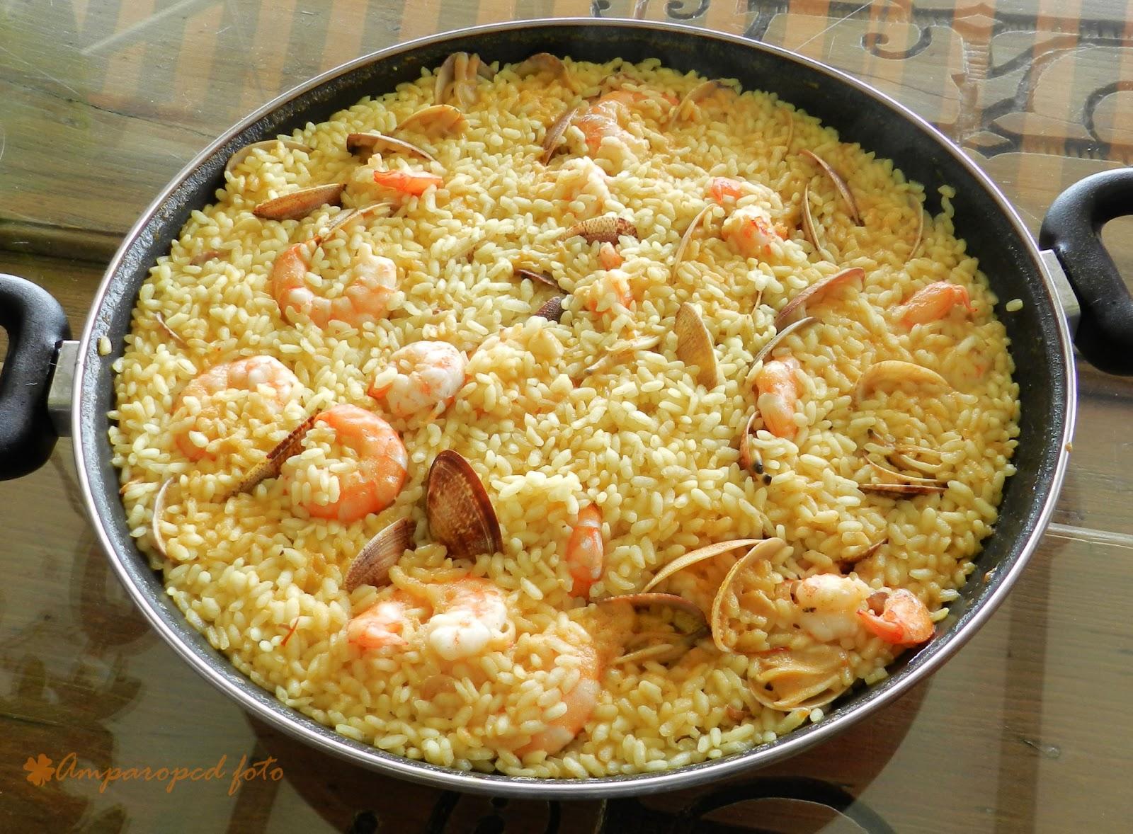 Cocinando en casa arroz con almejas y langostinos - Arroz con gambas y almejas ...