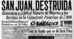 TERREMOTO EN SAN JUAN, 15 DE ENERO 1944