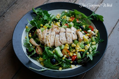Grilled Chicken, Corn, Blueberry Salad (The Gingered Whisk)