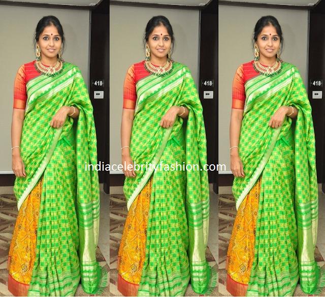 Singer Smitha in Half and Half Silk Saree