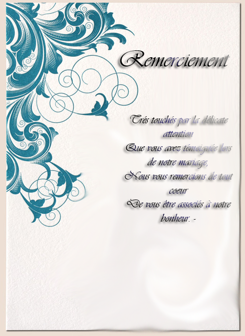 carte de remerciement mariage texte - Lettre De Remerciement Mariage