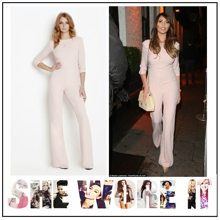 Amy Childs, Celebrity Fashion, Jumpsuit, Millie Mackintosh, Nude, Open Back Detail, Pale, Pink, Tailored, The Only Way Is Essex, TOWIE,