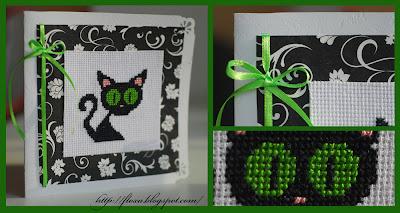 открытка с котенком, вышивка черный кот, вышивка зеленые глаза, открытка с вышивкой, скрапбукинг и вышивка, кот с большими глазами, вышитый котенок