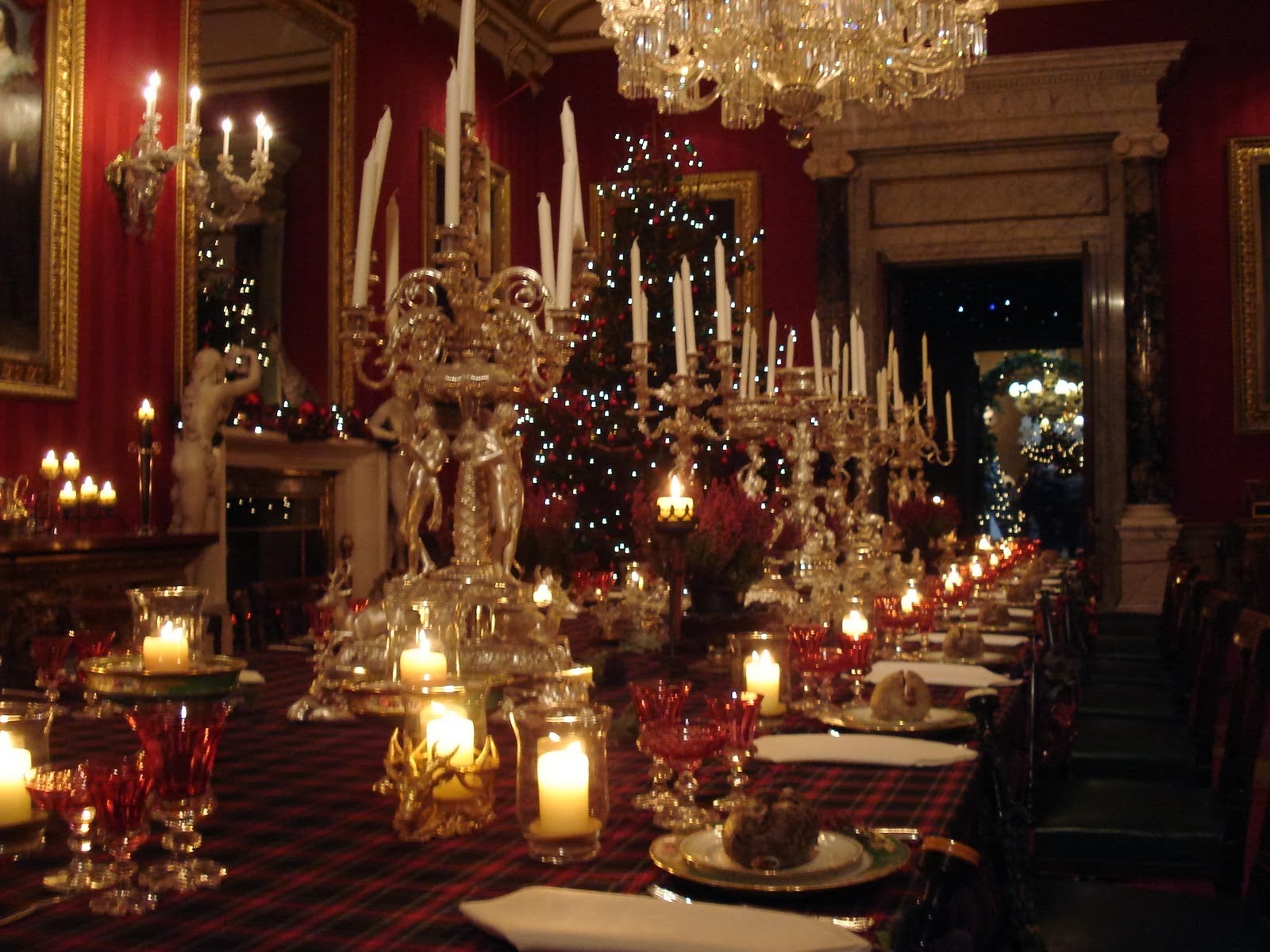 Chatsworth house dining table with holiday decor for The christmas decorations