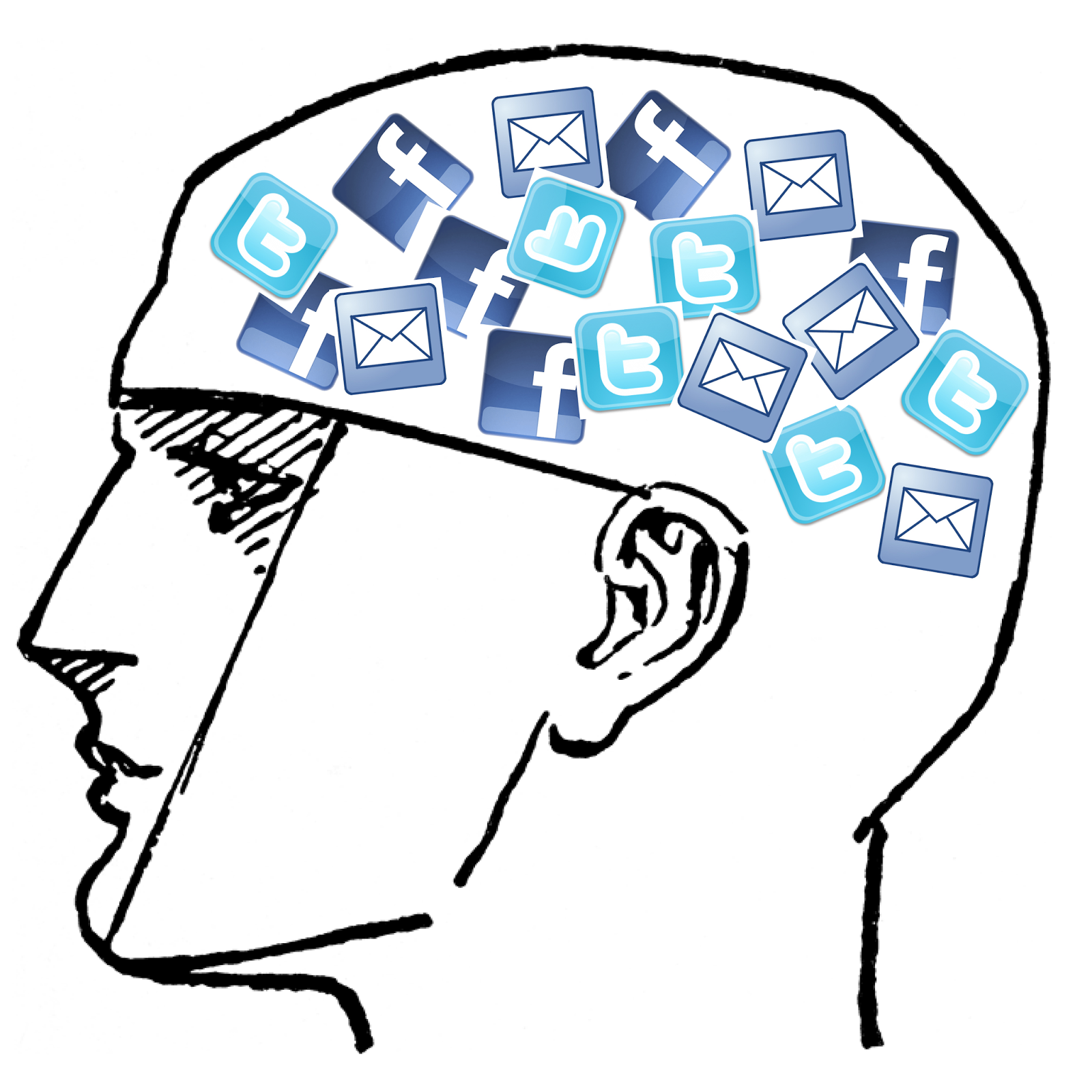 A man with twitter and Facebook in his brain