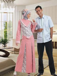 Sarimbit Gamis Batik Princess 2 Dusty Pink Contoh Model Baju Batik Lebaran Terbaru