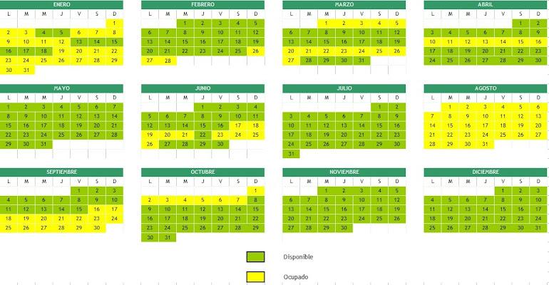 CALENDARIO DISPONIBILIDAD AÑO 2017 EUROMAR