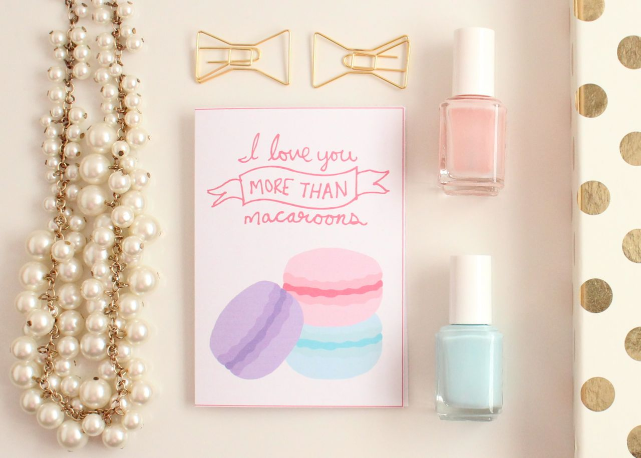 """I love you more than macaroons"" Printable Valentine's Day Cards by Jessica Marie Design"